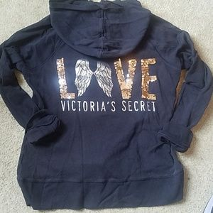 LOVE Victoria's Secret Bling Sequin Zip Hoodie